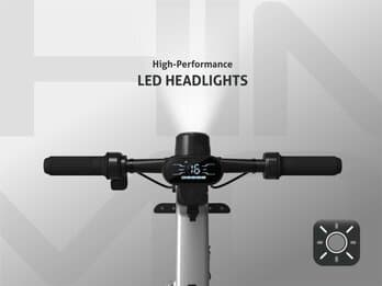 HIMO H1 eBike with it's headlight on and display visible