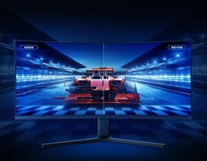 Xiaomi MI Curved 34 Monitor with a formula 1 racing car on display