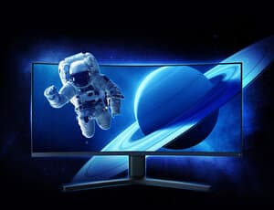 curved monitor with an illusion of an astronaut flying out of the monitor