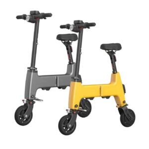 two himo h1 electric bikes of yellow and grey colour displayed side by side
