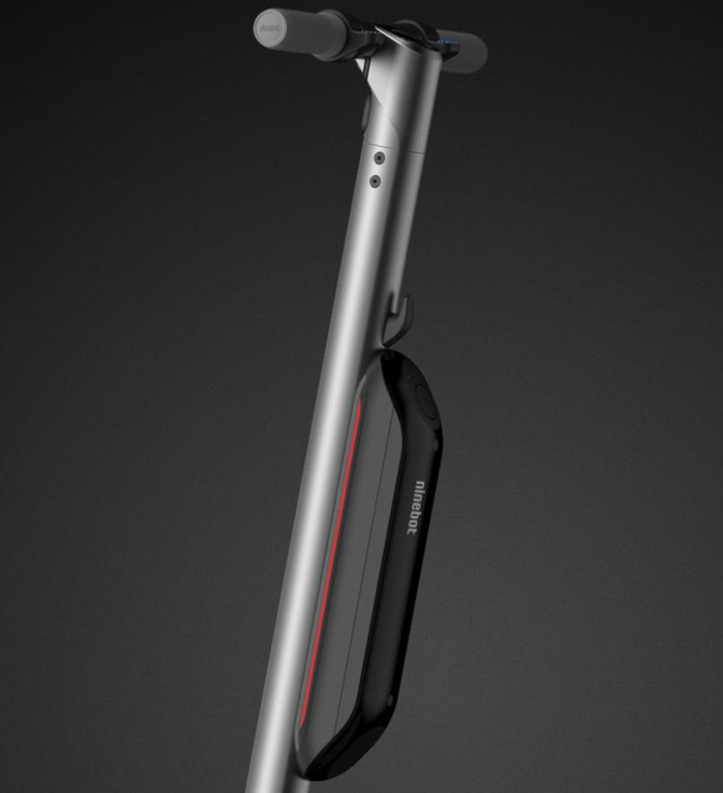 segway ninebot e22 picture showing the closeup of external battery with a black background