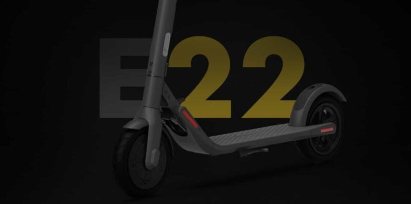 segway ninebot shown in a black background with e22 mentioned in bold